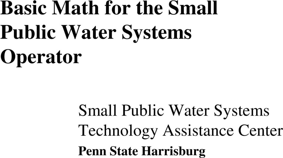 Public Water Systems Technology