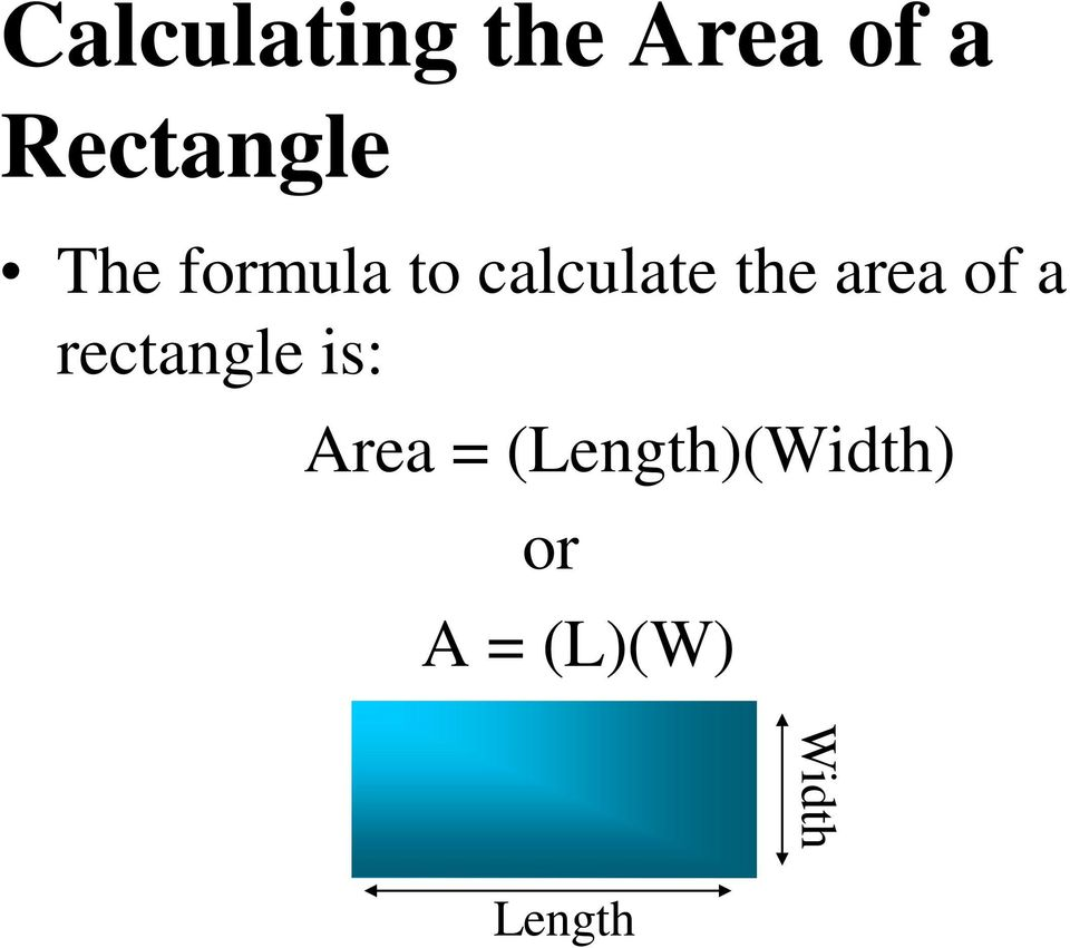 the area of a rectangle is: Area =
