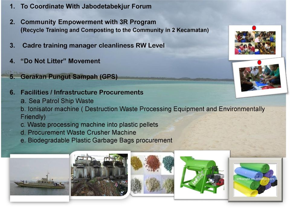 Cadre training manager cleanliness RW Level 4. Do Not Litter Movement 5. Gerakan Pungut Sampah (GPS) 6.