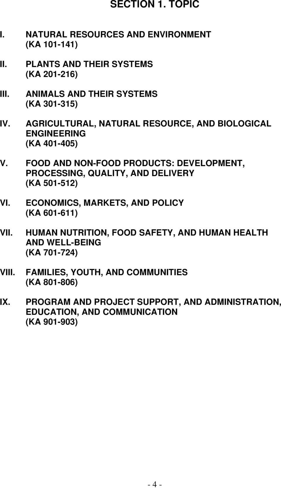 V. FOOD AND NON-FOOD PRODUCTS: DEVELOPMENT, PROCESSING, QUALITY, AND DELIVERY (KA 501-512) VI. VII. VIII. IX.