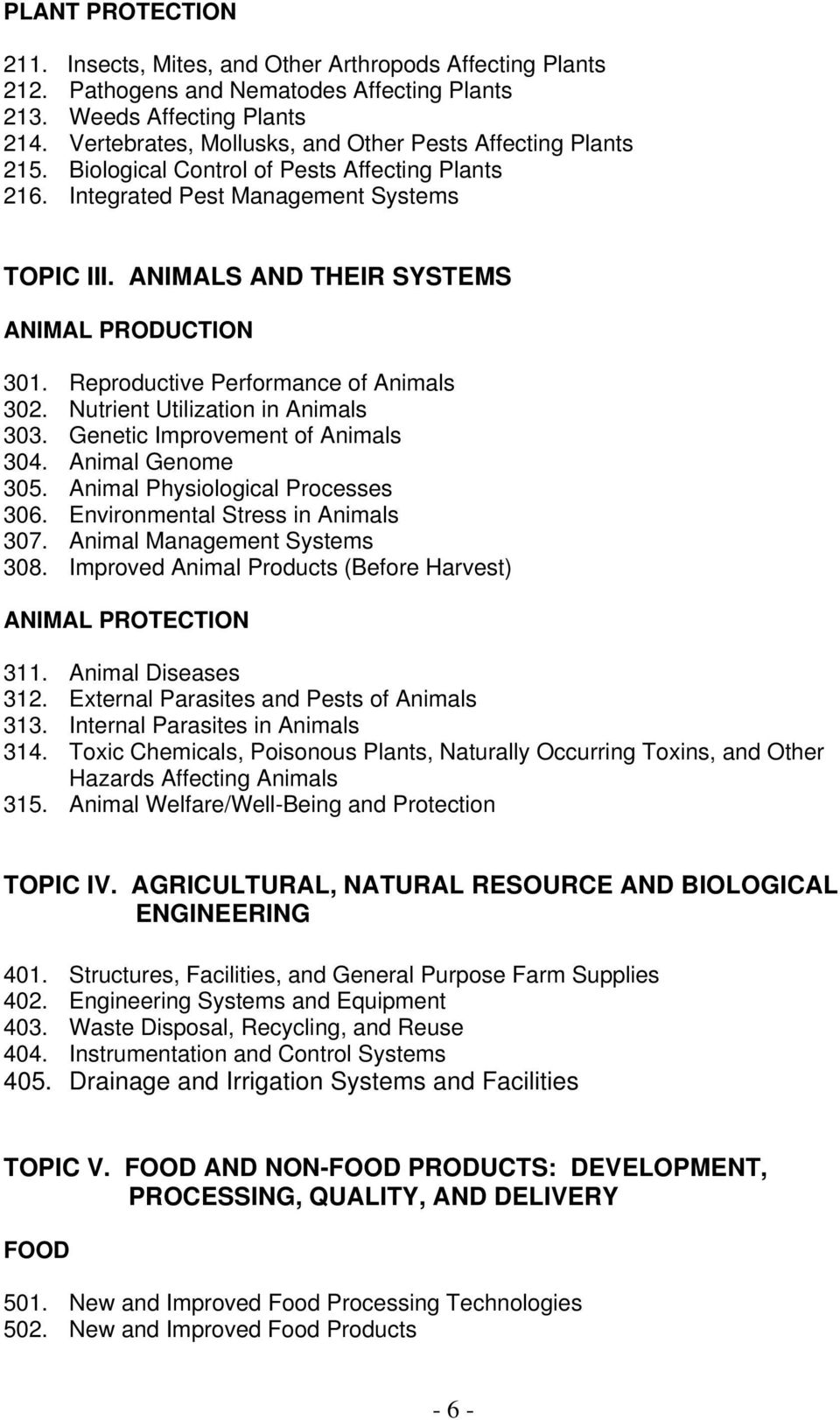 ANIMALS AND THEIR SYSTEMS ANIMAL PRODUCTION 301. Reproductive Performance of Animals 302. Nutrient Utilization in Animals 303. Genetic Improvement of Animals 304. Animal Genome 305.