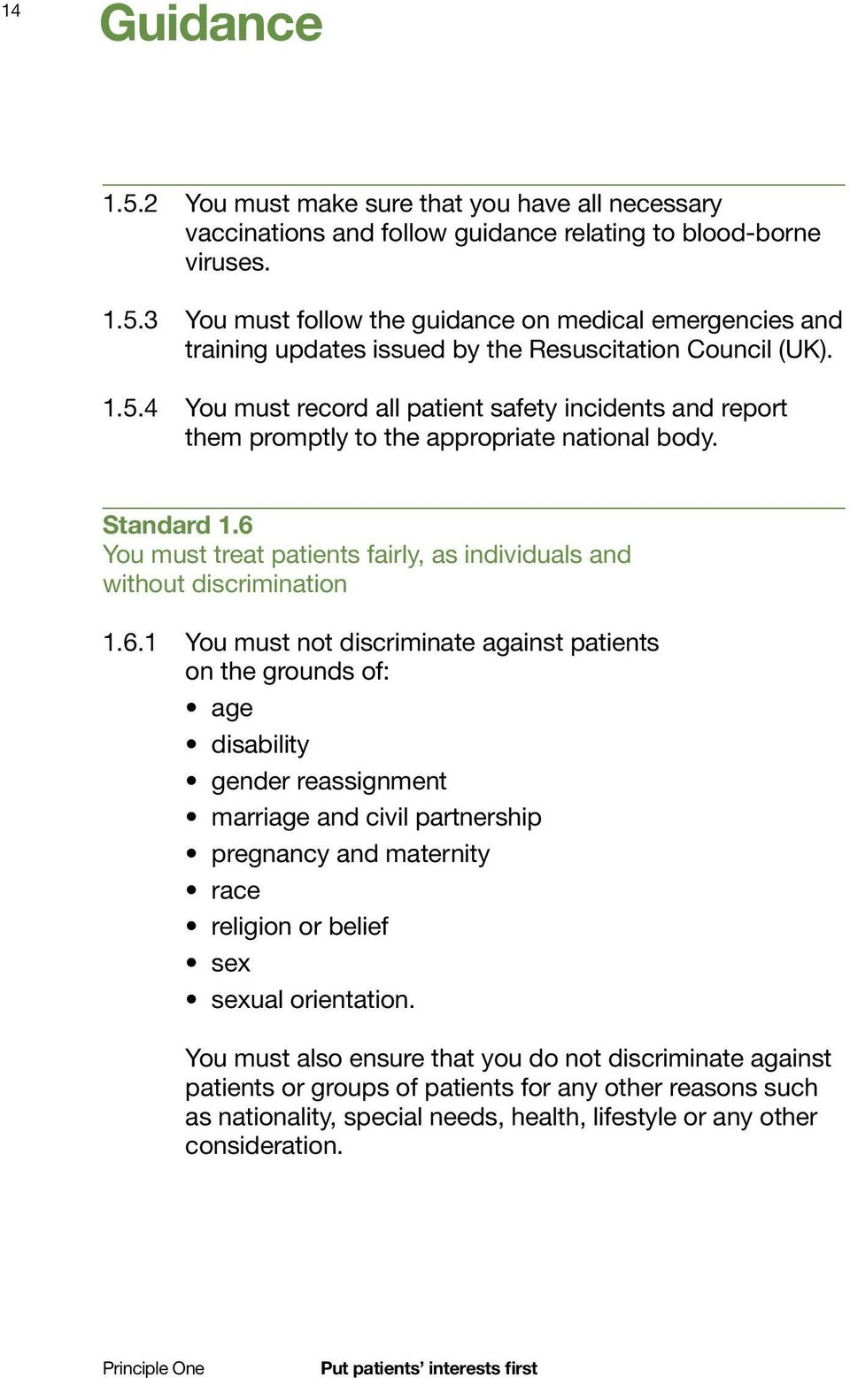 6.1 You must not discriminate against patients on the grounds of: age disability gender reassignment marriage and civil partnership pregnancy and maternity race religion or belief sex sexual