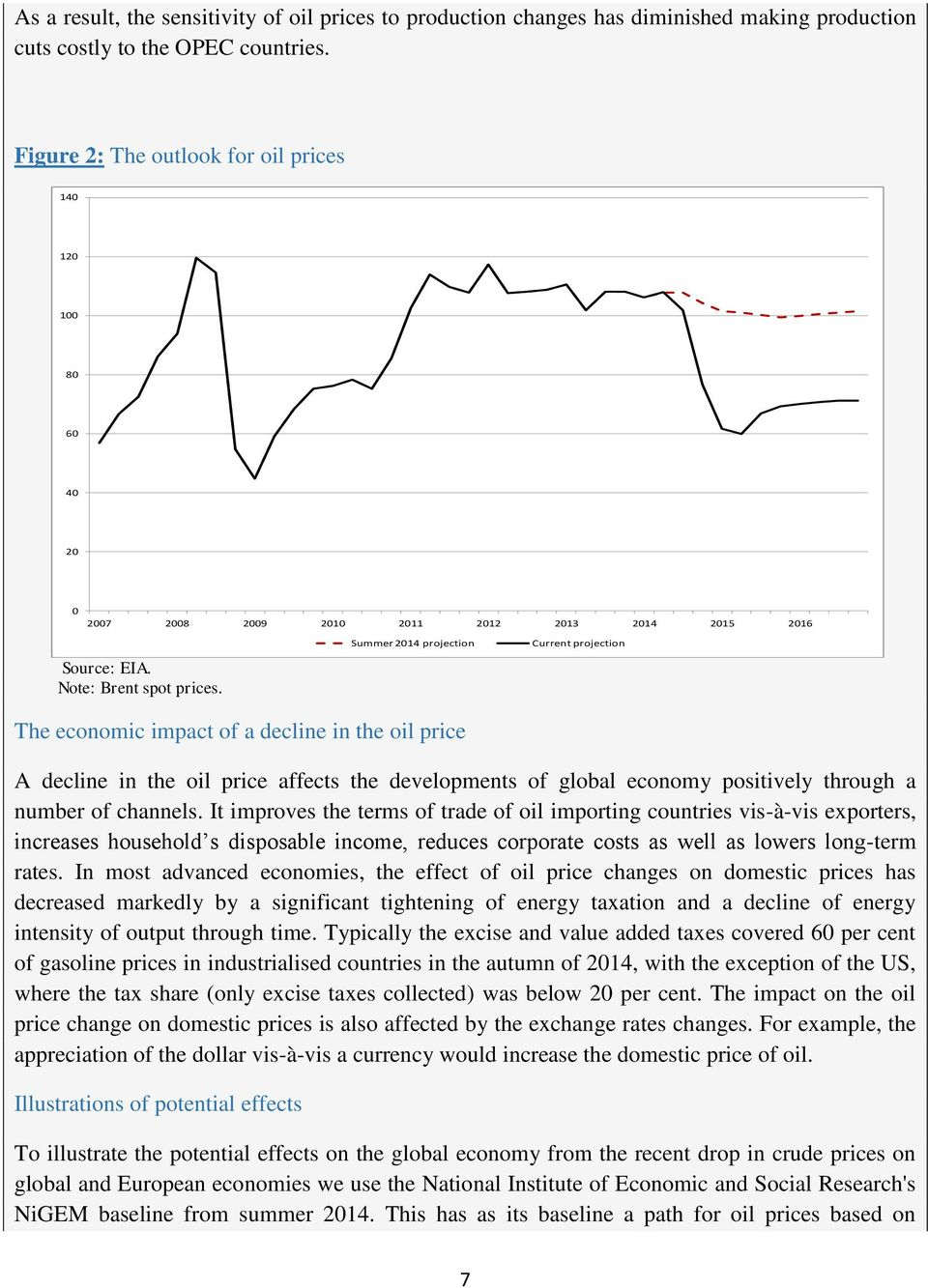 Summer 2014 projection Current projection The economic impact of a decline in the oil price A decline in the oil price affects the developments of global economy positively through a number of