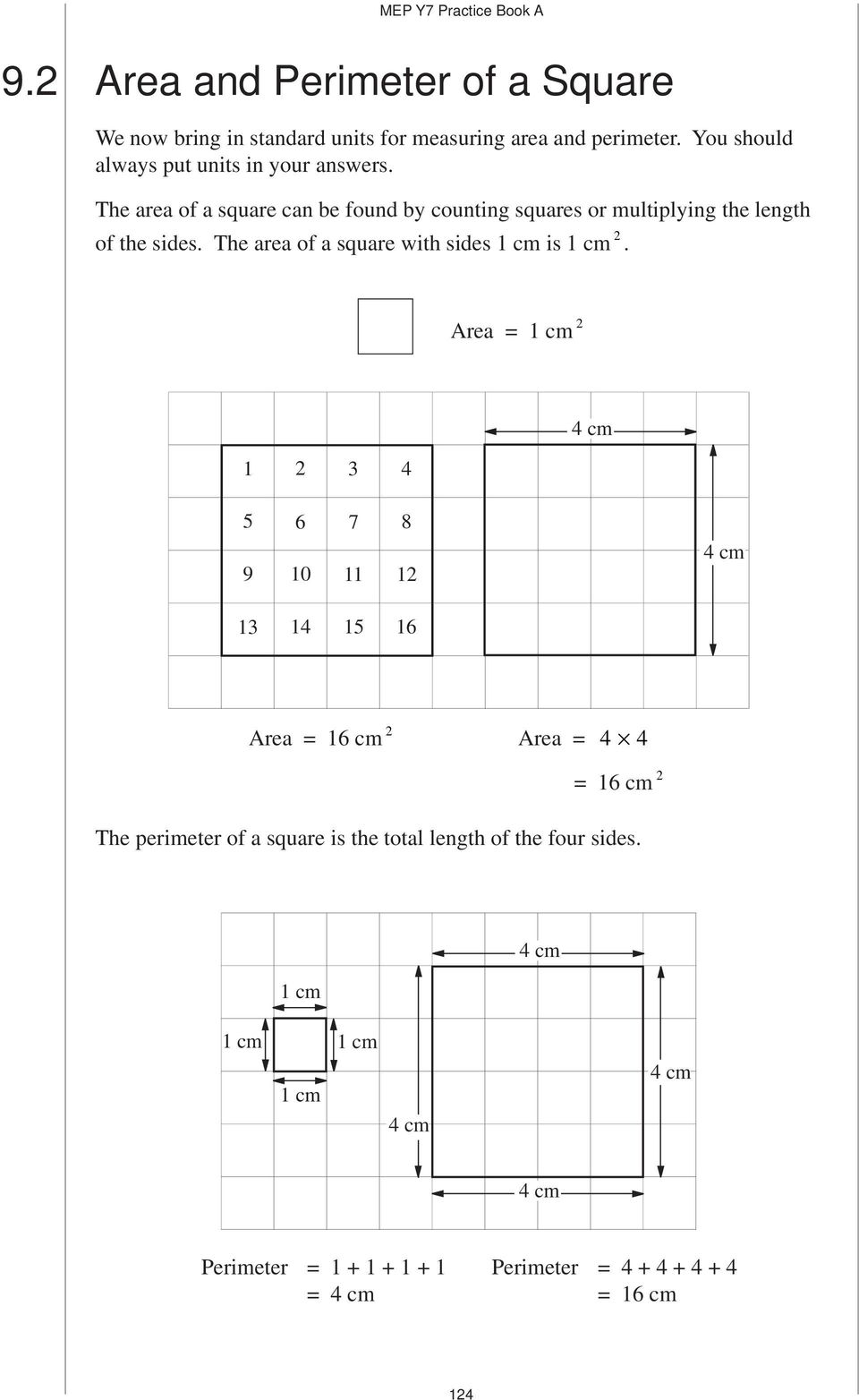 The area of a square can be found by counting squares or multiplying the length of the sides.
