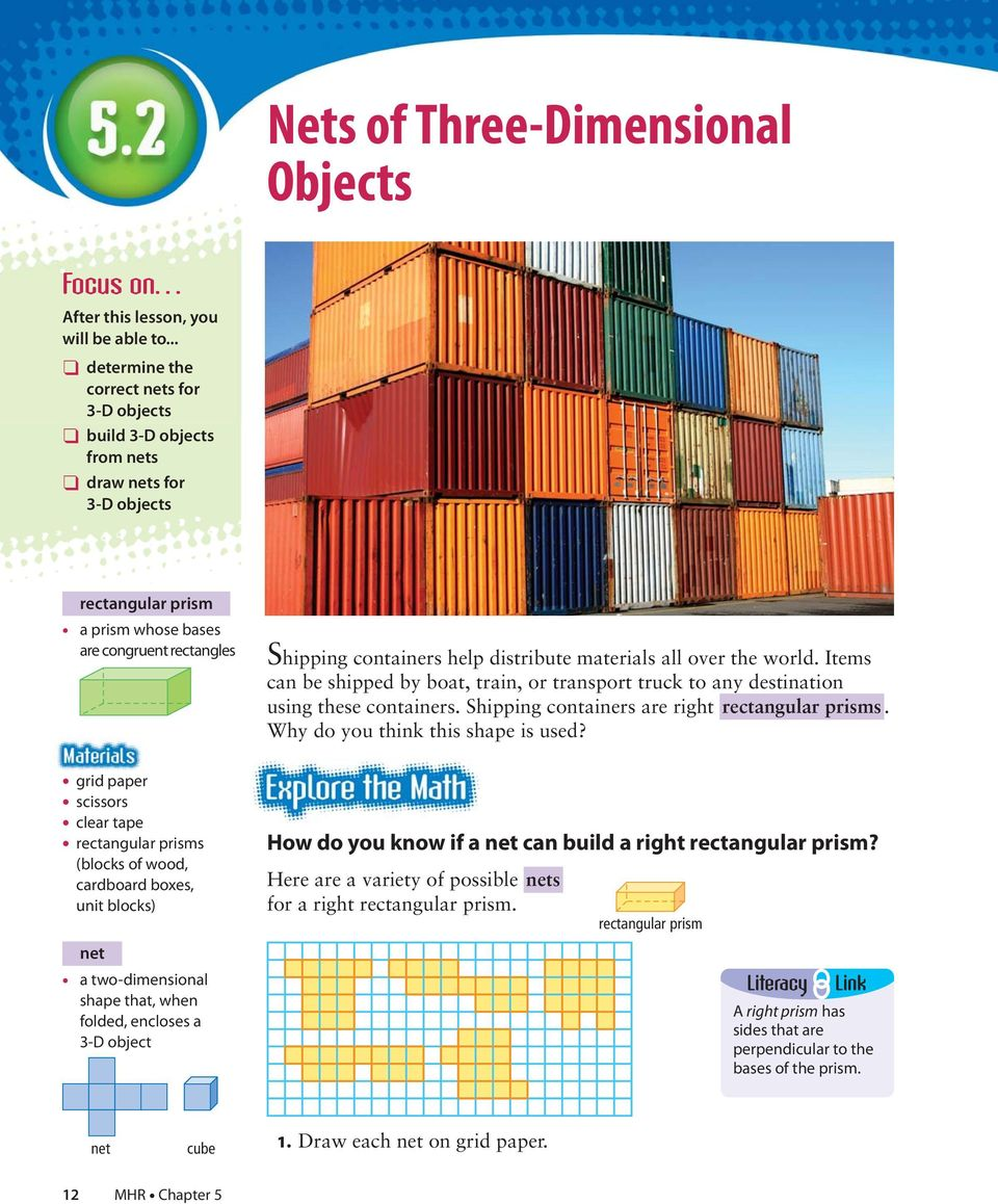 rectangular prisms (blocks of wood, cardboard boxes, unit blocks) net a two-dimensional shape that, when folded, encloses a 3-D object Shipping containers help distribute materials all over the world.