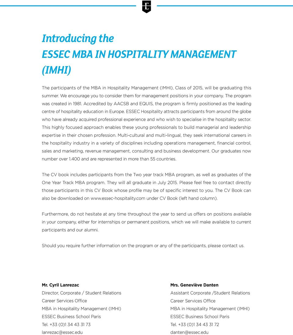 mba in hospitality management imhi cv book pdf accredited by aacsb equis program is firmly positioned as leading centre of hospitality education in