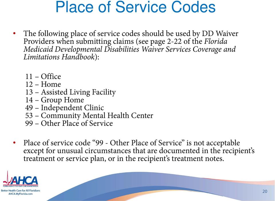 Group Home 49 Independent Clinic 53 Community Mental Health Center 99 Other Place of Service Place of service code 99 - Other Place of Service is