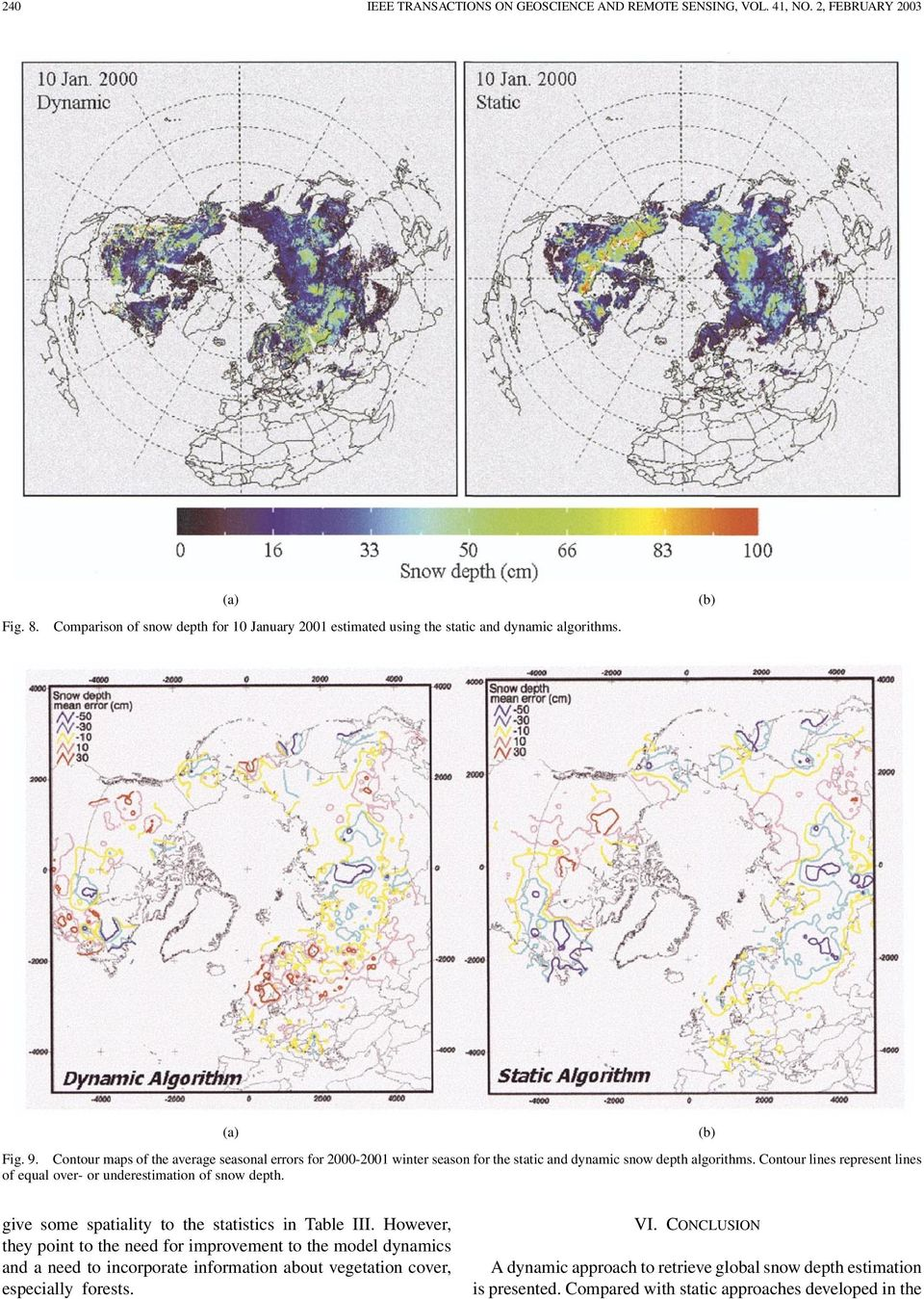 Contour maps of the average seasonal errors for 2000-2001 winter season for the static and dynamic snow depth algorithms.