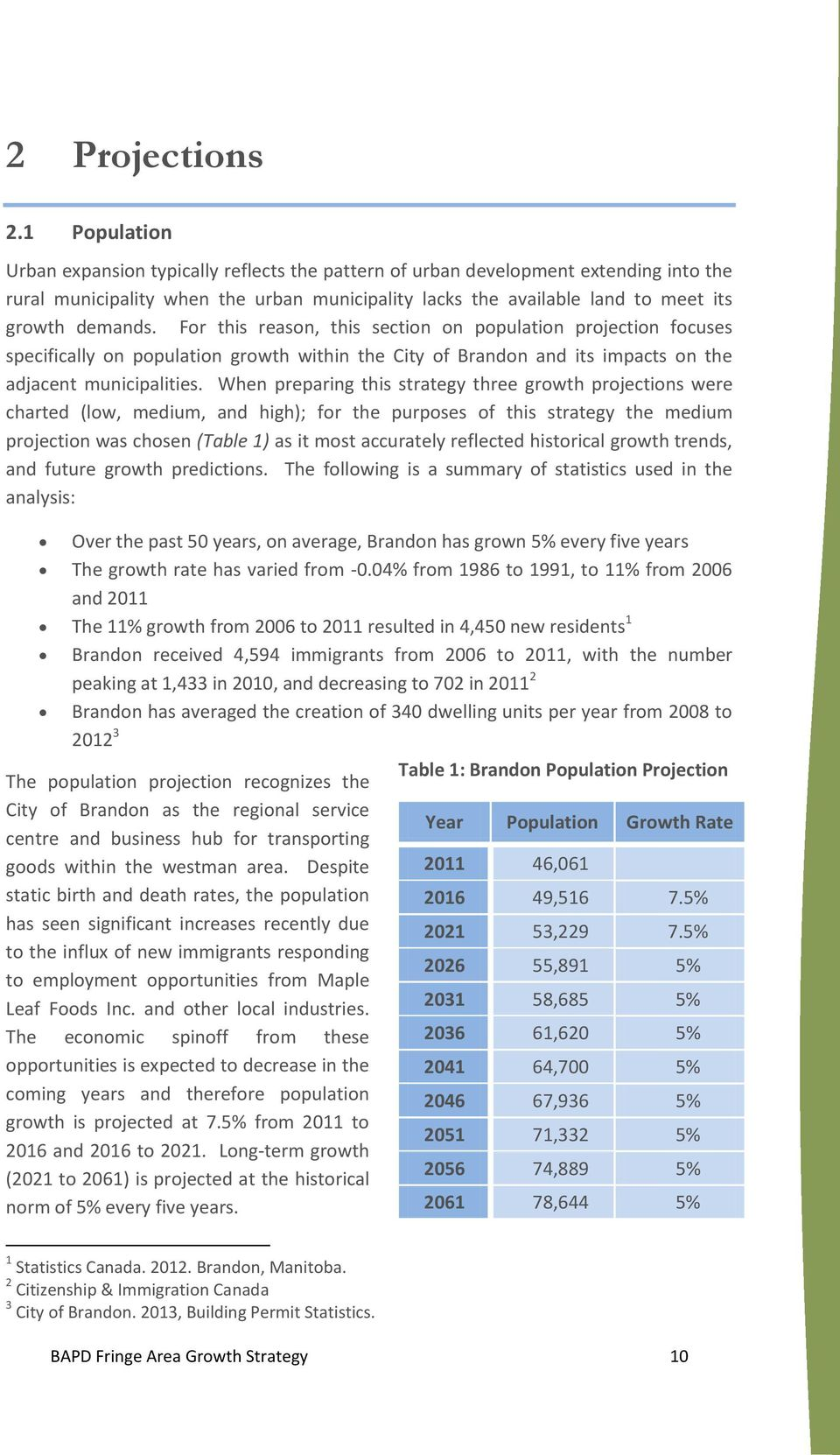 For this reason, this section on population projection focuses specifically on population growth within the City of Brandon and its impacts on the adjacent municipalities.