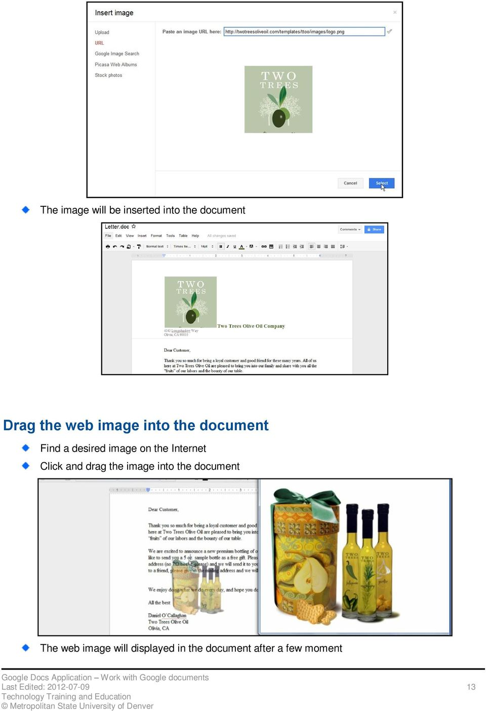 Click and drag the image into the document The web image will