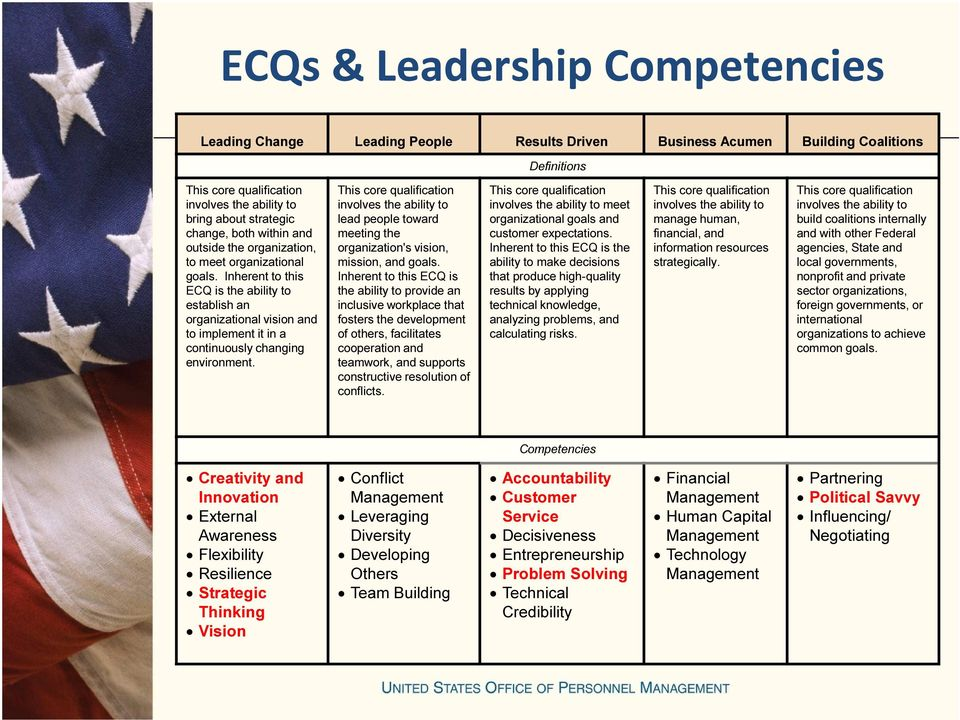 Inherent to this ECQ is the ability to establish an organizational vision and to implement it in a continuously changing environment.