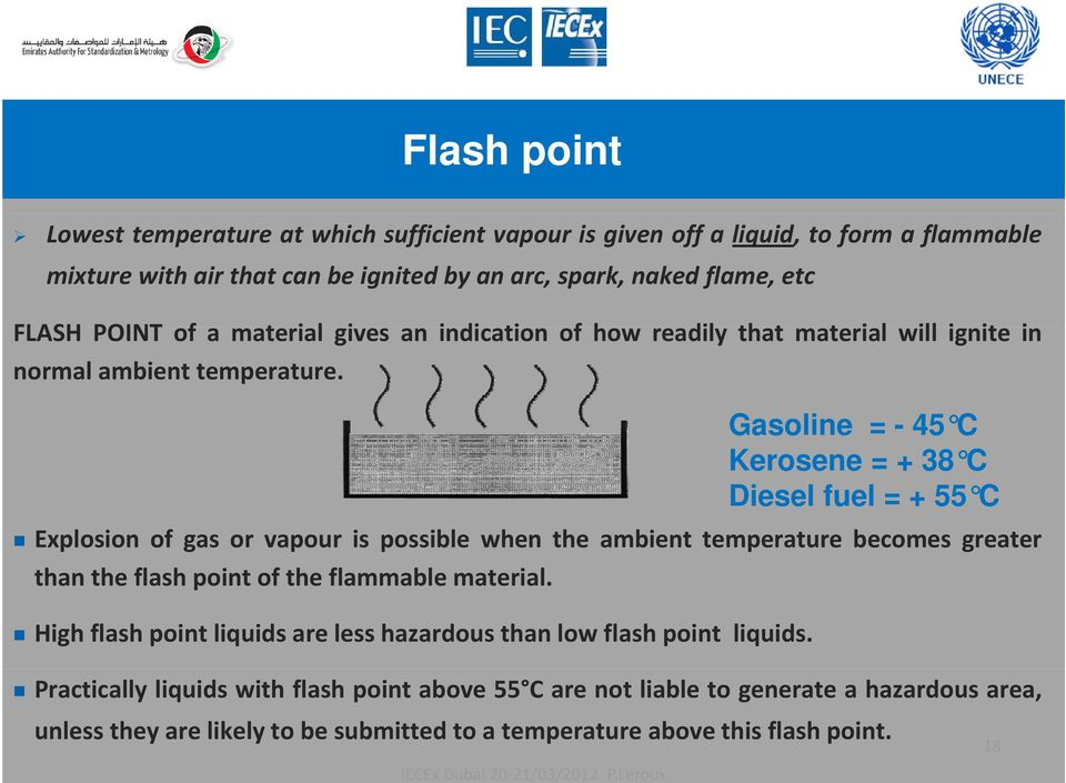Gasoline = - 45 C Kerosene = + 38 C Diesel fuel = + 55 C Explosion of gas or vapour is possible when the ambient temperature becomes greater than the flash point of the flammable material.