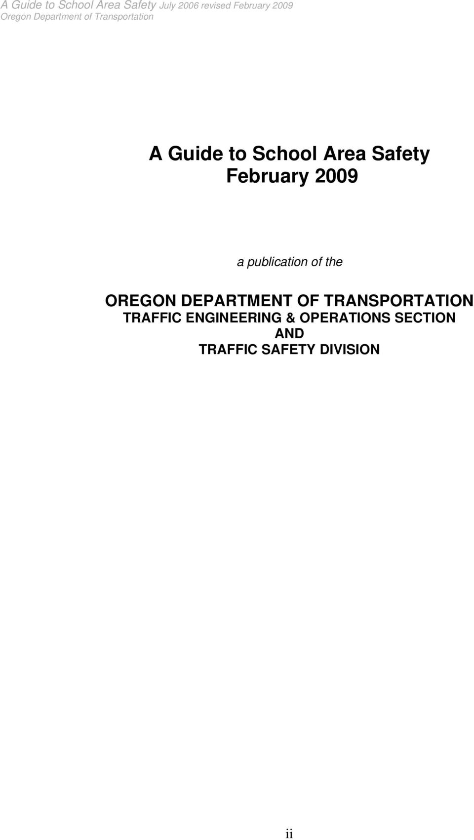 DEPARTMENT OF TRANSPORTATION TRAFFIC