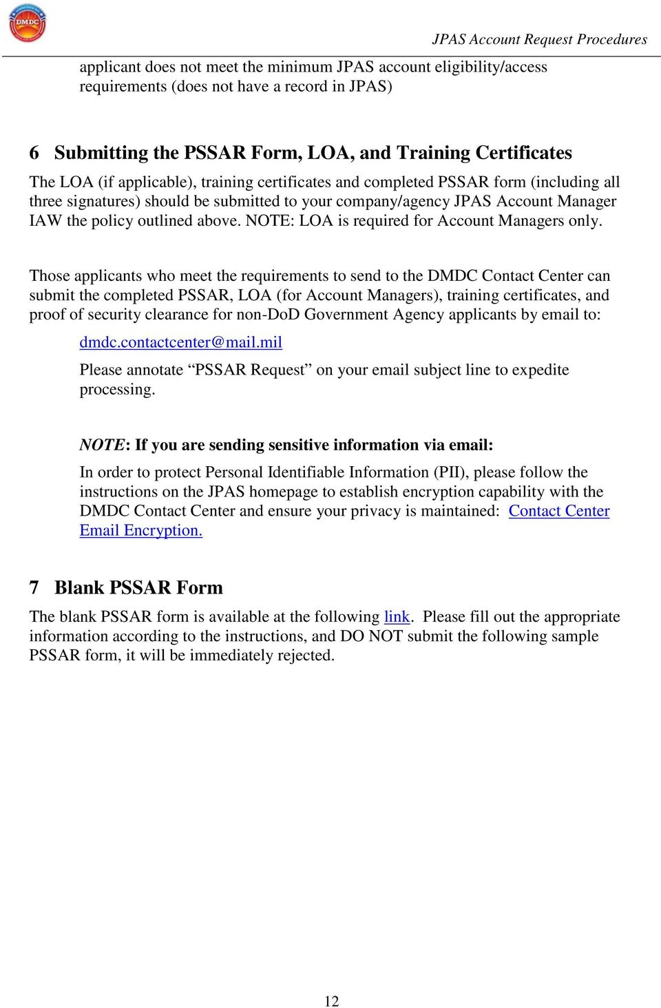 Joint Personnel Adjudication System JPAS Account Request – Security Policy Sample
