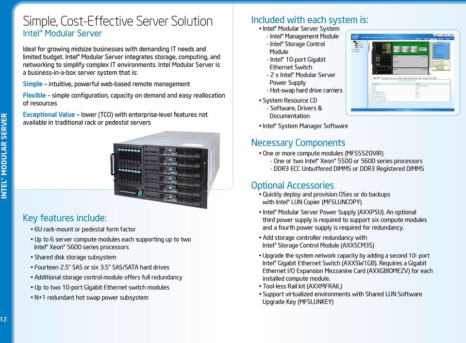 Intel Modular Server is a business-in-a-box server system that is: Simple intuitive, powerful web-based remote management Flexible simple configuration, capacity on demand and easy reallocation of