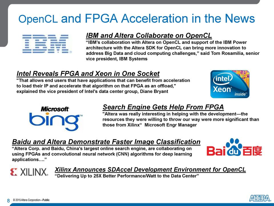 "have applications that can benefit from acceleration to load their IP and accelerate that algorithm on that FPGA as an offload,"" explained the vice president of Intel's data center group, Diane"