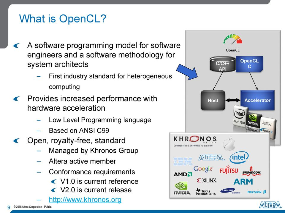 standard for heterogeneous computing Provides increased performance with hardware acceleration Low Level Programming