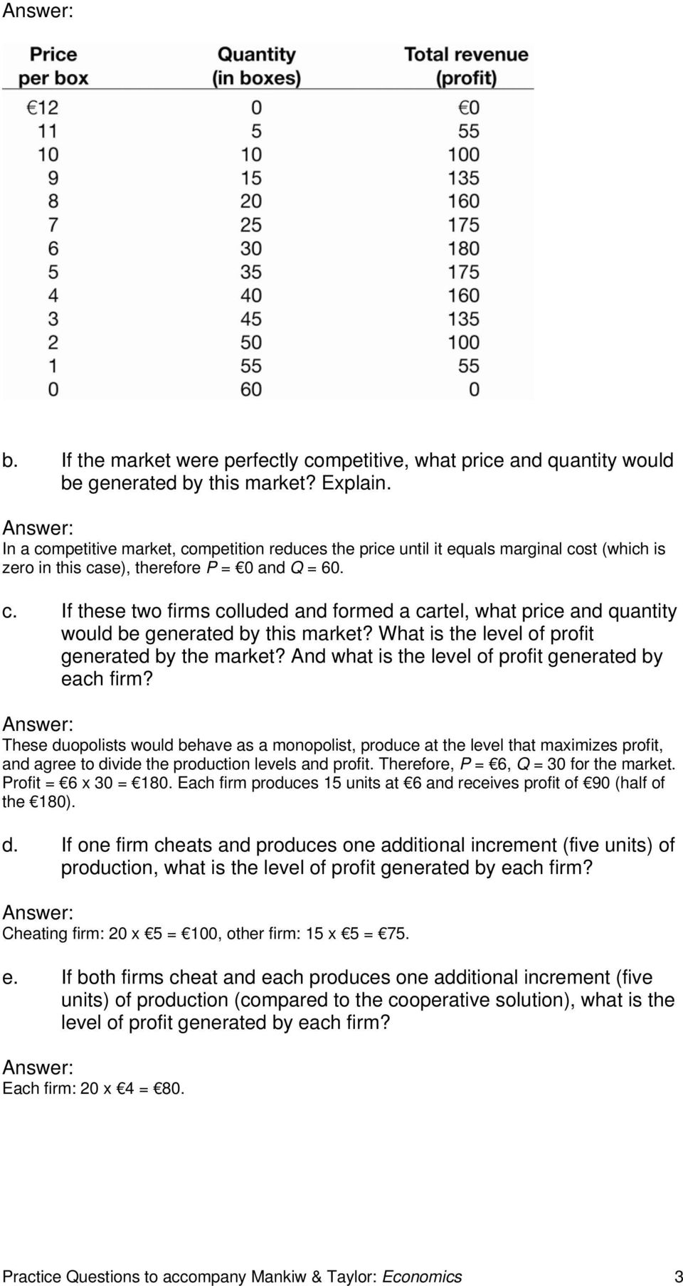 What is the level of profit generated by the market? And what is the level of profit generated by each firm?