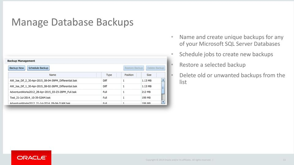 Databases Schedule jobs to create new backups