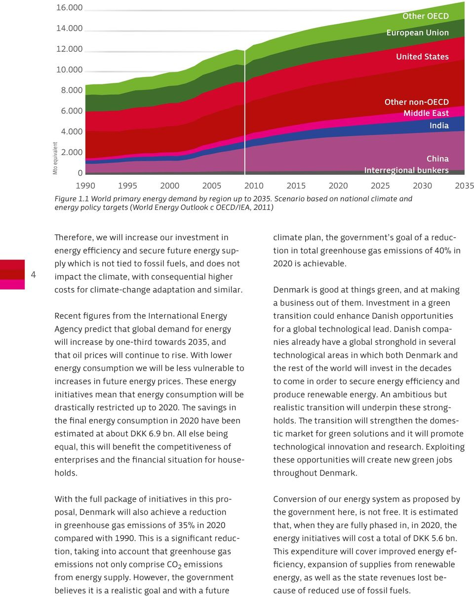 Scenario based on national climate and energy policy targets (World Energy Outlook c OECD/IEA, 2011) 4 Therefore, we will increase our investment in energy efficiency and secure future energy supply