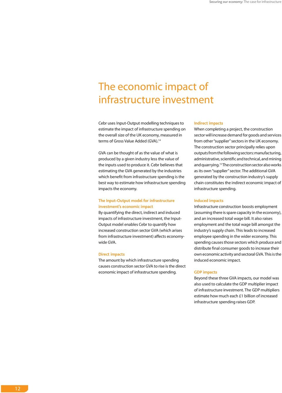 Cebr believes that estimating the GVA generated by the industries which benefit from infrastructure spending is the best way to estimate how infrastructure spending impacts the economy.