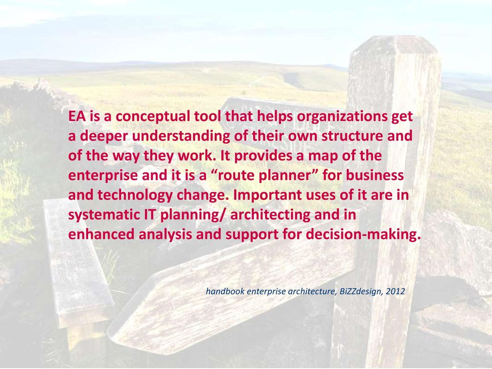 It provides a map of the enterprise and it is a route planner for business and technology change.