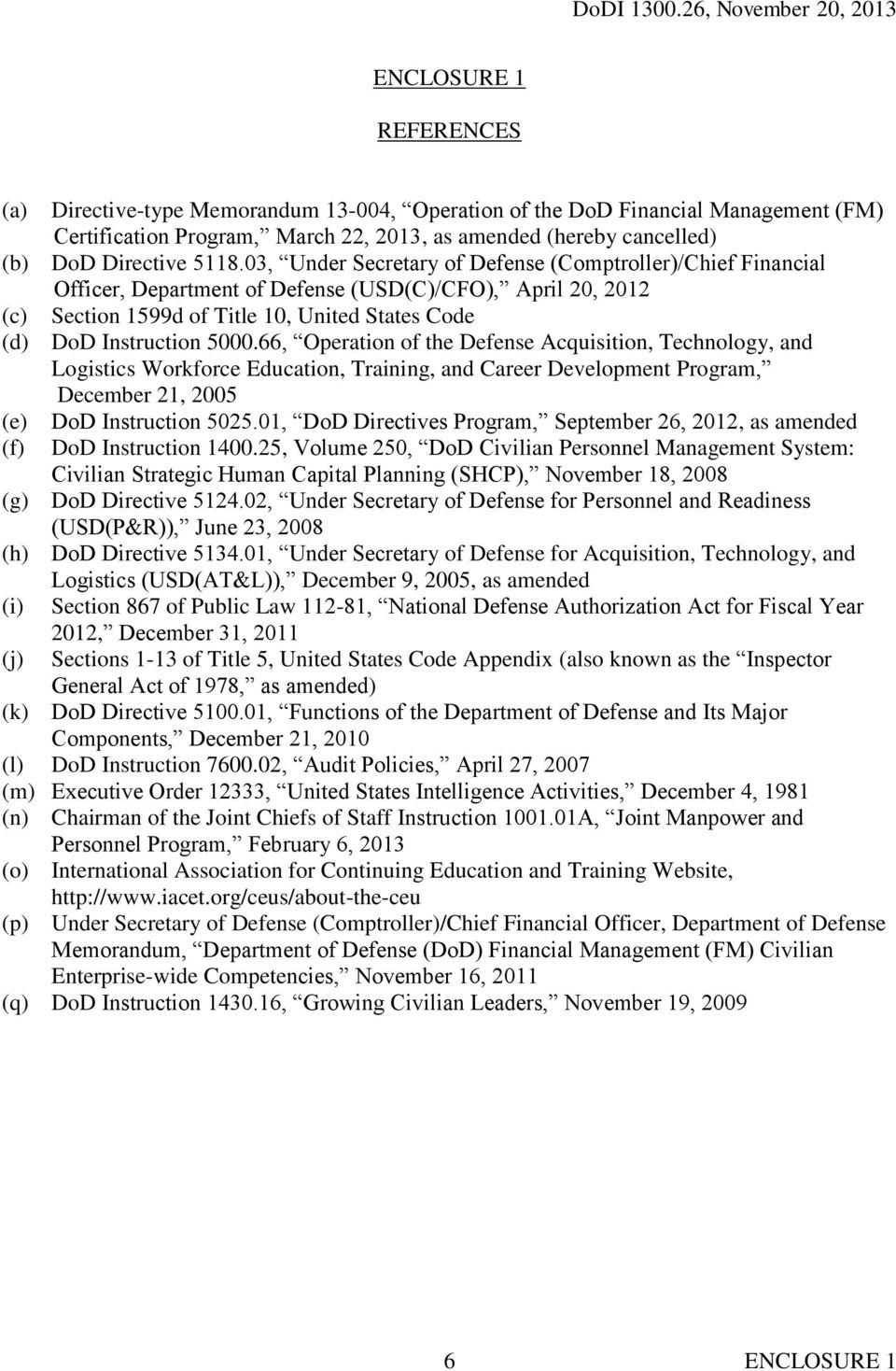 66, Operation of the Defense Acquisition, Technology, and Logistics Workforce Education, Training, and Career Development Program, December 21, 2005 (e) (f) DoD Instruction 5025.