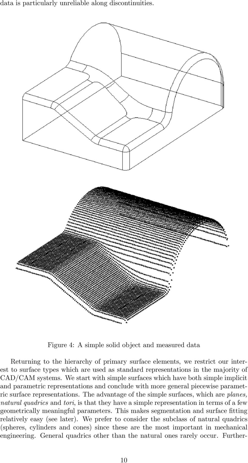 majority of CAD/CAM systems. We start with simple surfaces which have both simple implicit and parametric representations and conclude with more general piecewise parametric surface representations.