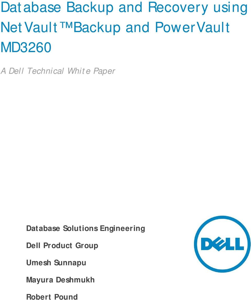 White Paper Database Solutions Engineering Dell