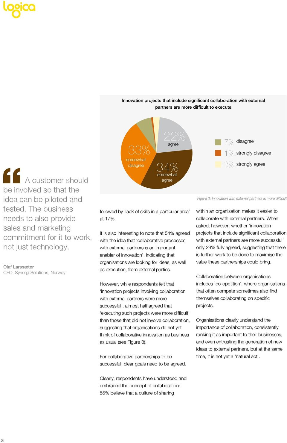 Olaf Larssæter CEO, Synergi Solutions, Norway 33% somewhat disagree 22% agree 34% somewhat agree followed by lack of skills in a particular area at 17%.