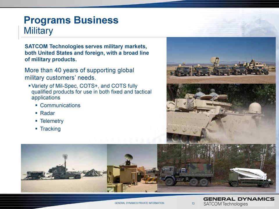 More than 40 years of supporting global military customers needs.