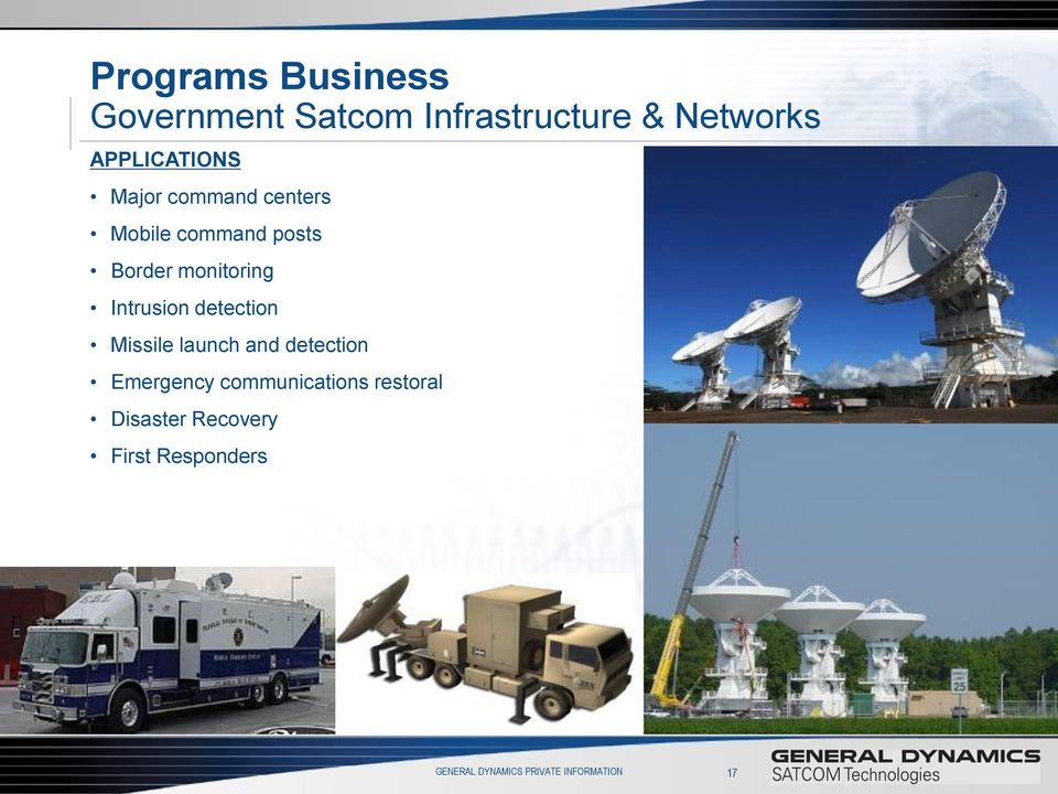 Intrusion detection Missile launch and detection Emergency communications