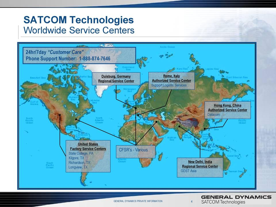 Authorized Service Center Datacom United States Factory Service Centers State College, PA Kilgore, TX Richardson, TX
