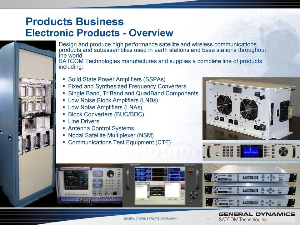 SATCOM Technologies manufactures and supplies a complete line of products including: Solid State Power Amplifiers (SSPAs) Fixed and Synthesized Frequency Converters