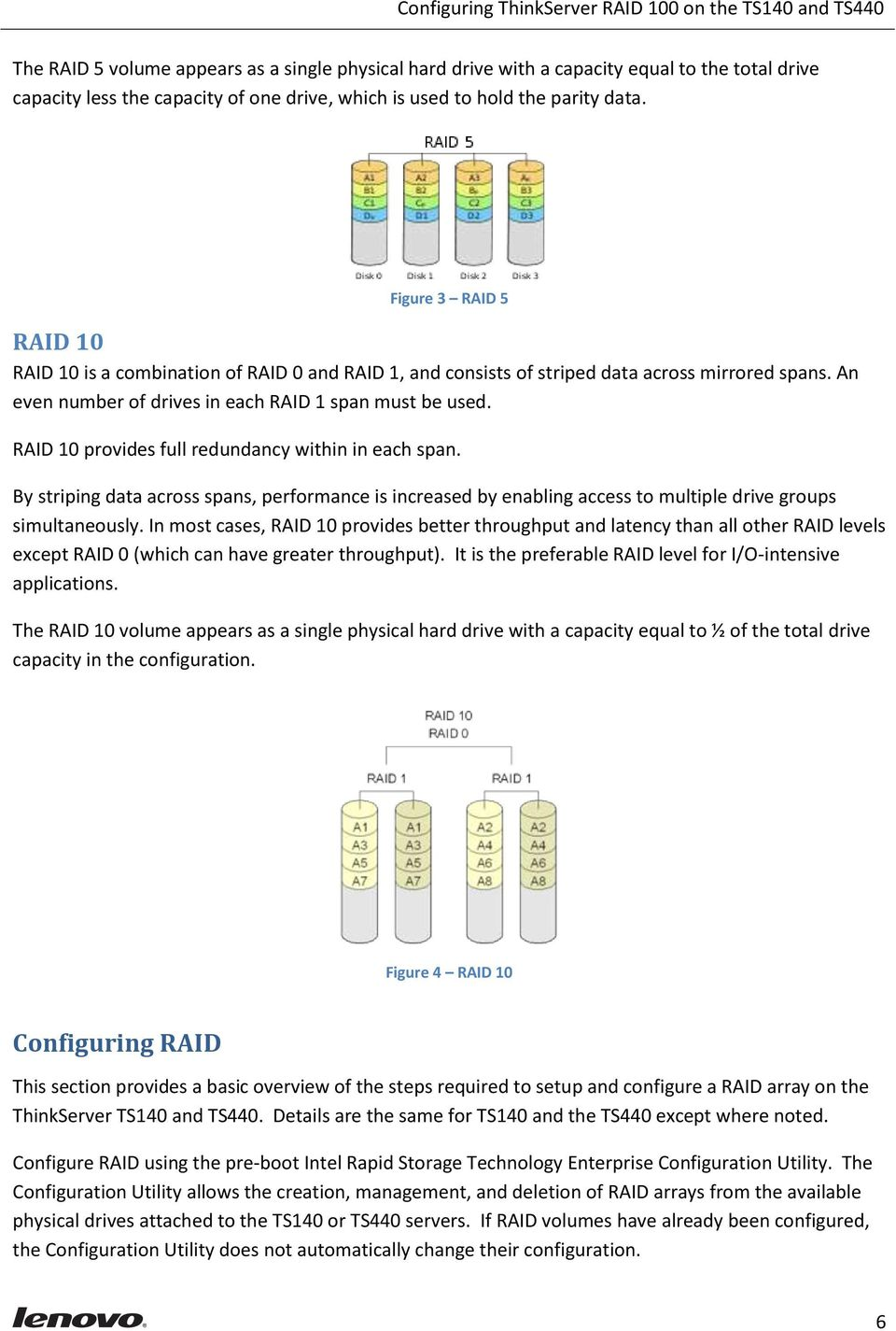 RAID 10 provides full redundancy within in each span. By striping data across spans, performance is increased by enabling access to multiple drive groups simultaneously.