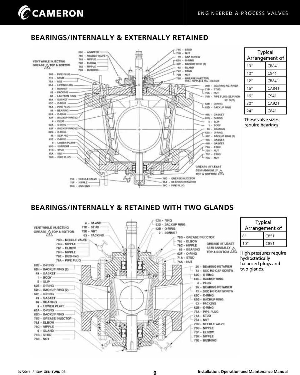 bearings BEARINGS/INTERNALLY & RETAINED WITH TWO GLANDS Typical Arrangement of