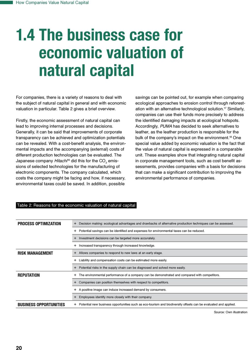 particular. Table 2 gives a brief overview. Firstly, the economic assessment of natural capital can lead to improving internal processes and decisions.