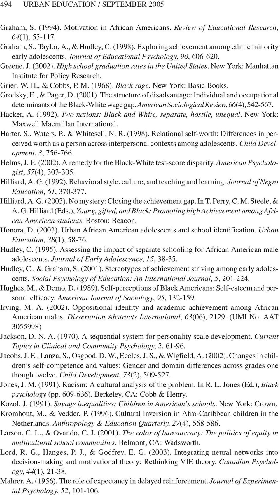 New York: Manhattan Institute for Policy Research. Grier, W. H., & Cobbs, P. M. (1968). Black rage. New York: Basic Books. Grodsky, E., & Pager, D. (2001).