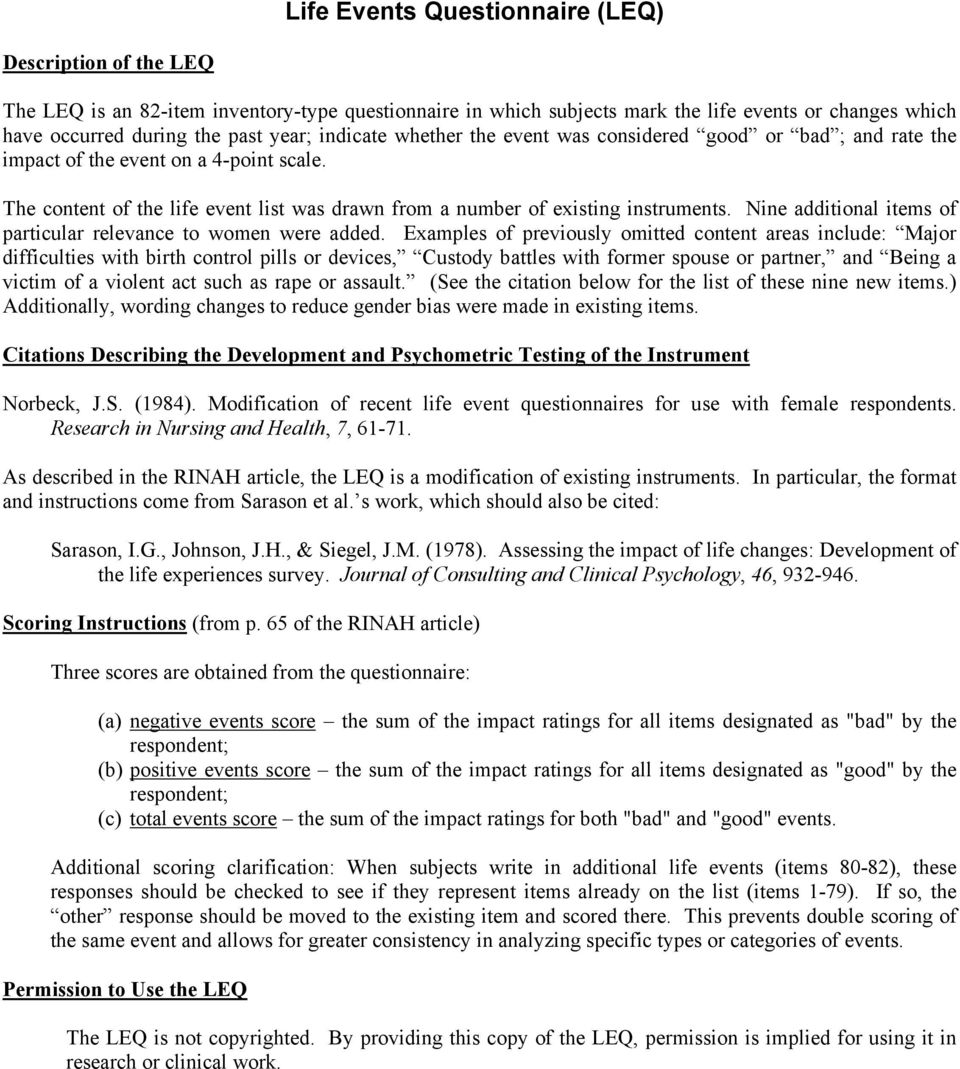 Life events questionnaire leq pdf nine additional items of particular relevance to women were added buycottarizona