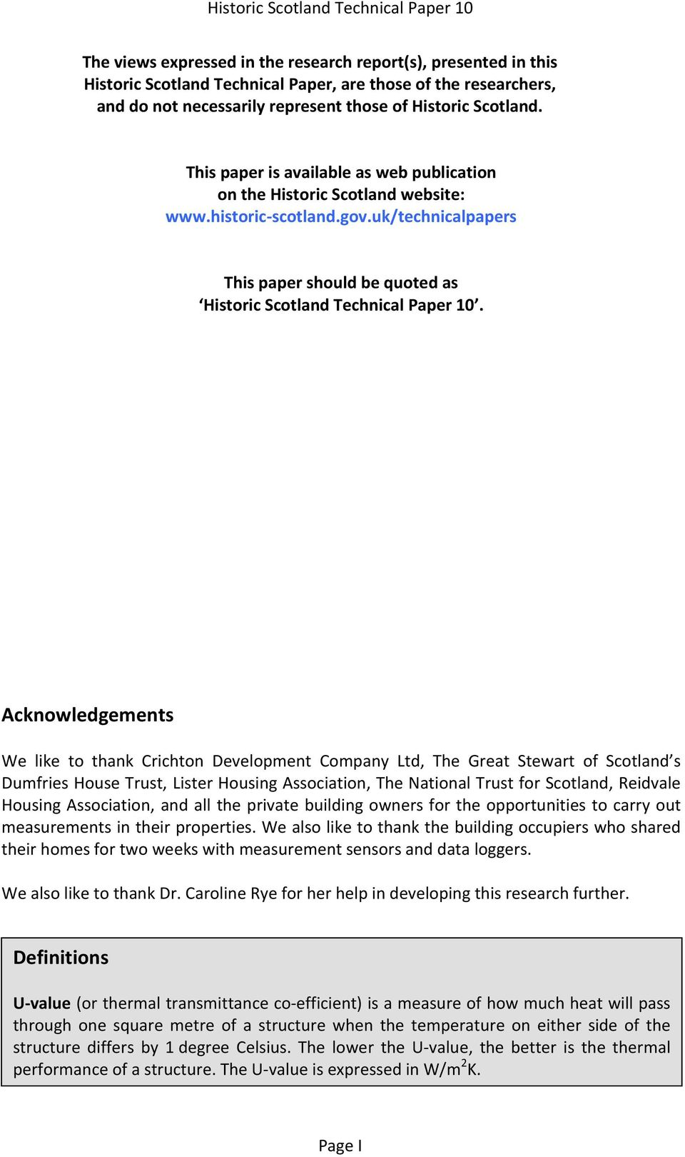 uk/technicalpapers This paper should be quoted as Historic Scotland Technical Paper 10.