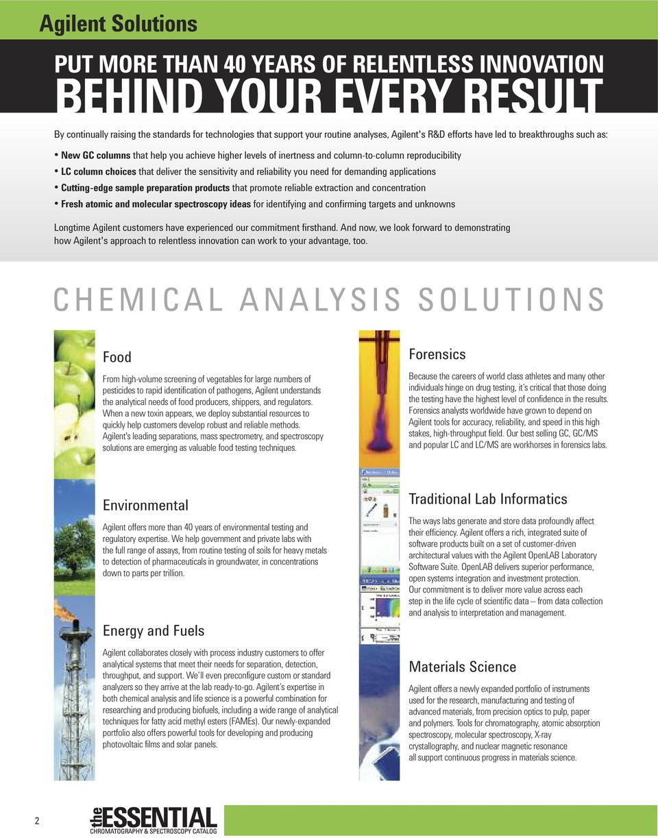 reliability you need for demanding applications Cutting-edge sample preparation products that promote reliable extraction and concentration Fresh atomic and molecular spectroscopy ideas for