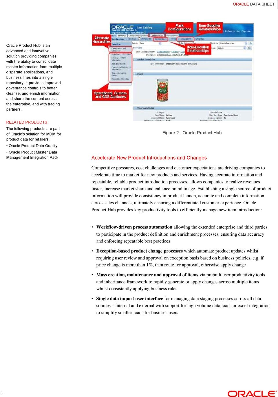 RELATED PRODUCTS The following products are part of Oracle s solution for MDM for product data for retailers: Oracle Product Data Quality Oracle Product Master Data Management Integration Pack Figure