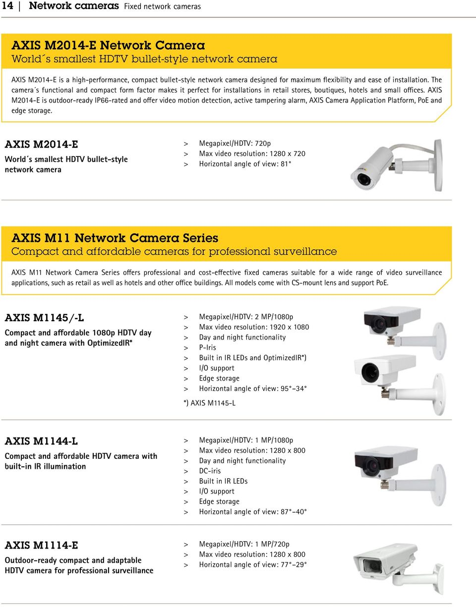AXIS M2014-E is outdoor-ready IP66-rated and offer video motion detection, active tampering alarm, AXIS Camera Application Platform, PoE and edge storage.