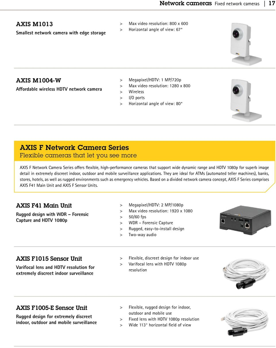 Network Camera Series offers flexible, high-performance cameras that support wide dynamic range and HDTV 1080p for superb image detail in extremely discreet indoor, outdoor and mobile surveillance