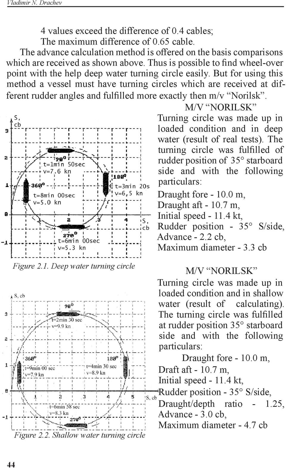 But for using this method a vessel must have turning circles which are received at different rudder angles and fulfilled more exactly then m/v Norilsk.