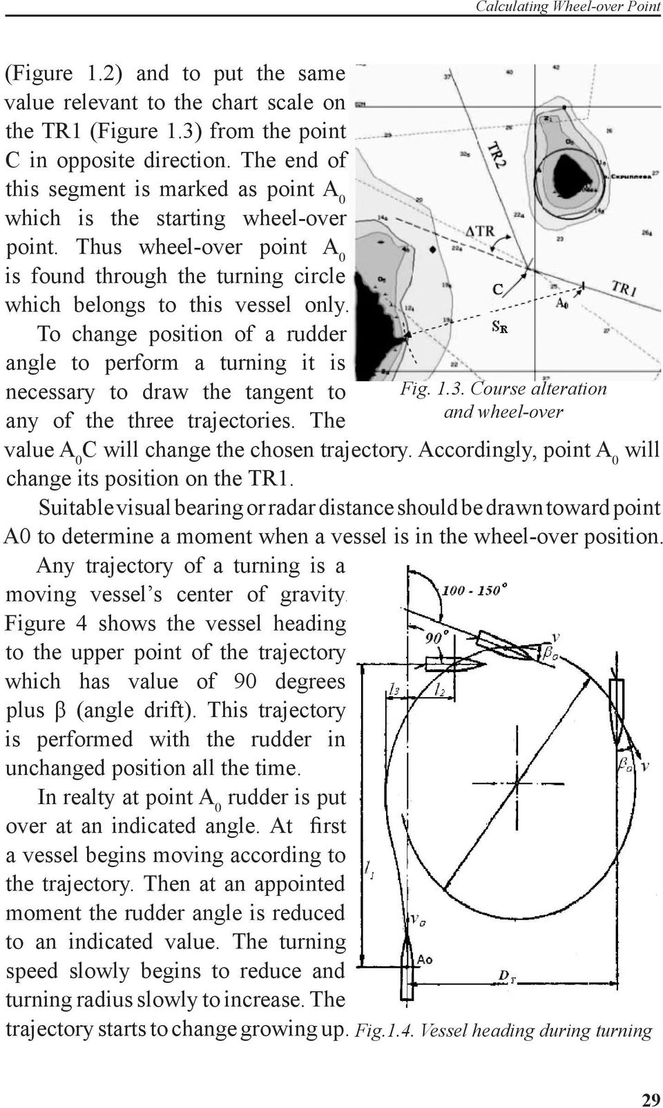 To change position of a rudder angle to perform a turning it is necessary to draw the tangent to any of the three trajectories. The Fig. 1.3.