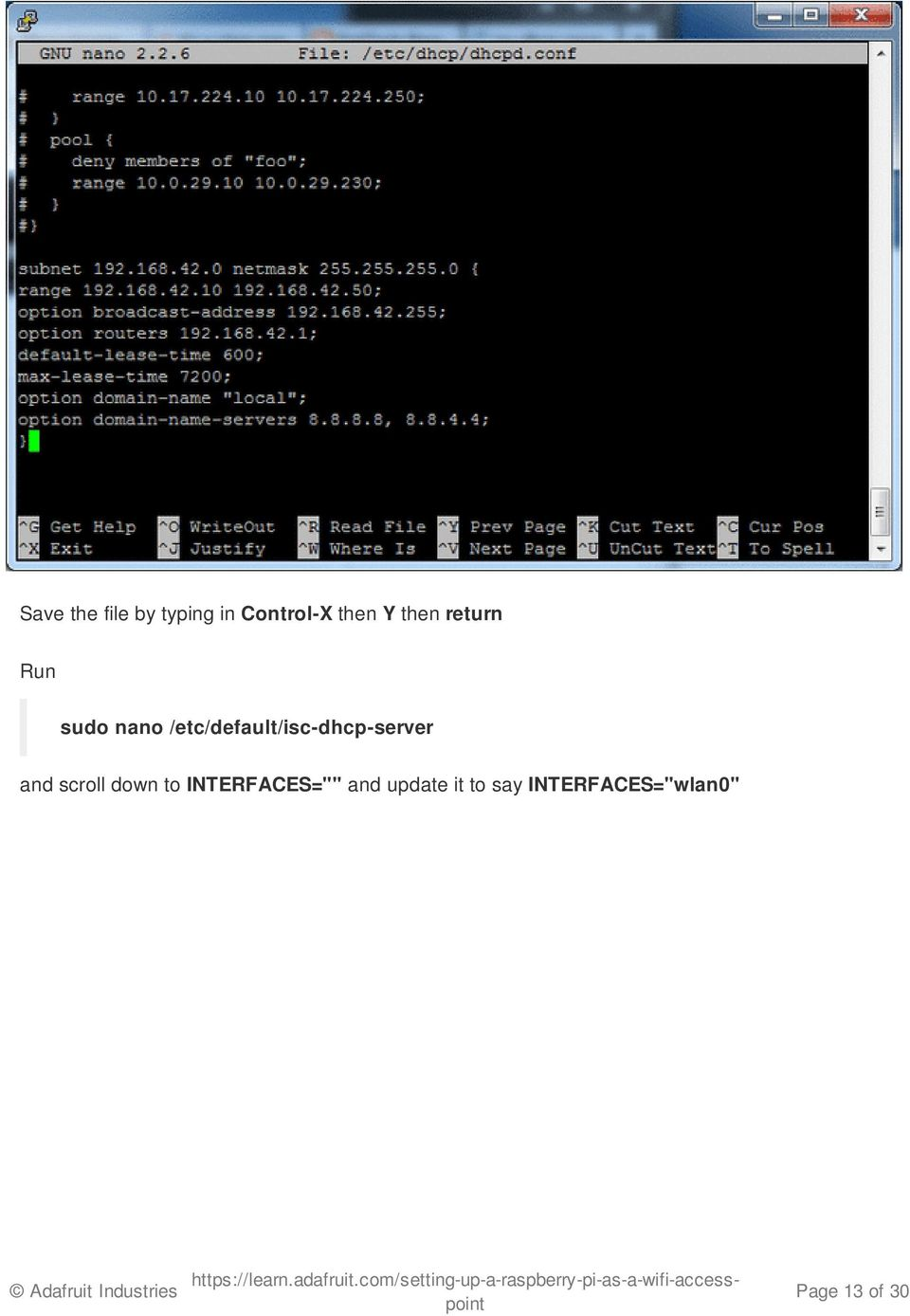 /etc/default/isc-dhcp-server and scroll down