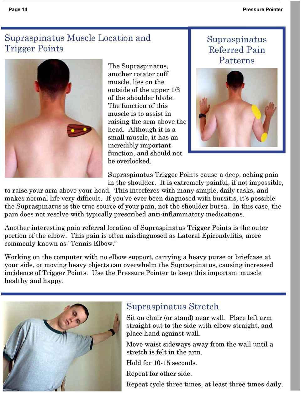 Supraspinatus Referred Pain Patterns Supraspinatus Trigger Points cause a deep, aching pain in the shoulder. It is extremely painful, if not impossible, to raise your arm above your head.