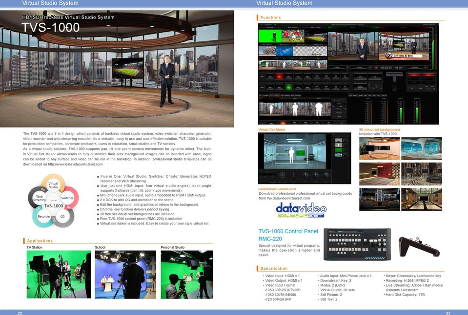 TVS-1000 is suitable for production companies, corporate producers, users in education, small studios and TV stations.