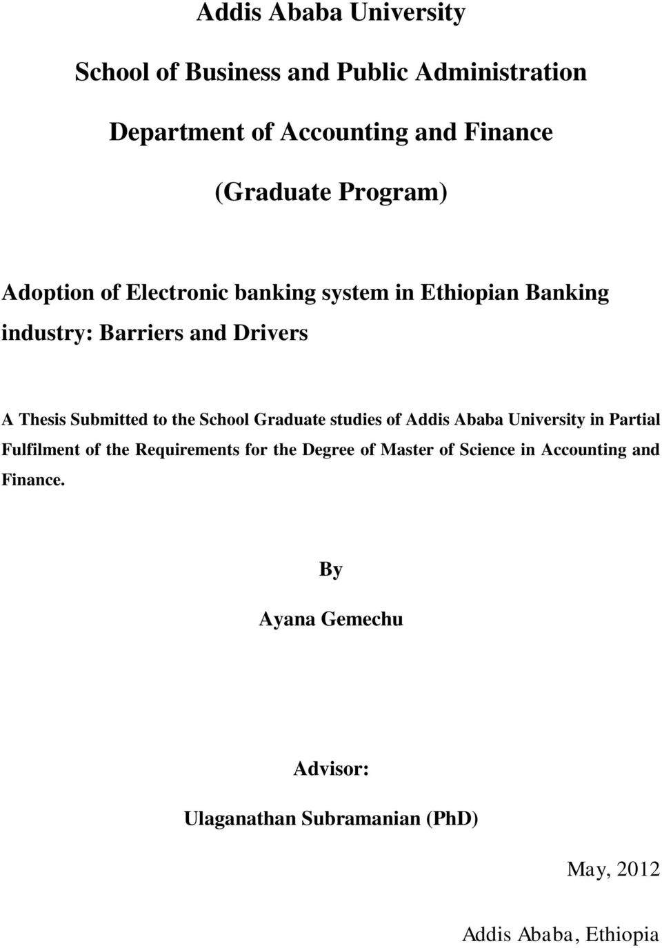 Research thesis of housing addis ababa university